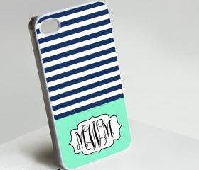 Full Blue Cute Monogram - Iphone case for Iphone 4 case, Iphone 4s case, Iphone 5 case hard case