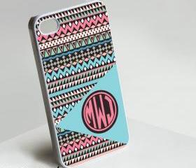 Tribal Pink Blue Monogram - Iphone case for Iphone 4 case, Iphone 4s case, Iphone 5 case hard case