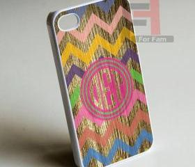 Colored Wood Monogram - Iphone case for Iphone 4 case, Iphone 4s case, Iphone 5 case hard case