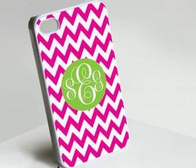 Elegant Pink Green Monogram - Iphone case for Iphone 4 case, Iphone 4s case, Iphone 5 case hard case