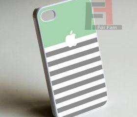 Strip Green Aple Monogram - Iphone case for Iphone 4 case, Iphone 4s case, Iphone 5 case hard case