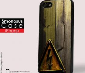 Danger with wood design - Iphone case for Iphone 4 case, Iphone 4s case, Iphone 5 case hard case