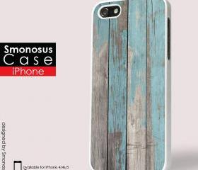 Wood combination with blue pastel - Iphone case for Iphone 4 case, Iphone 4s case, Iphone 5 case hard case