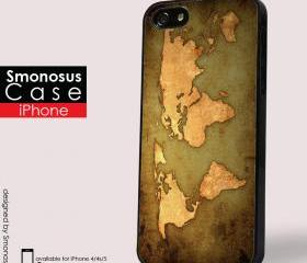 World Map design - Iphone case for Iphone 4 case, Iphone 4s case, Iphone 5 case hard case