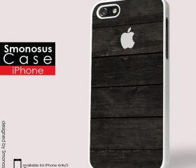 Black wood background iphone logo - Iphone case for Iphone 4 case, Iphone 4s case, Iphone 5 case hard case