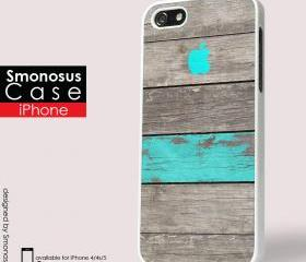 Design Wood and blue background iphone logo - Iphone case for Iphone 4 case, Iphone 4s case, Iphone 5 case hard case