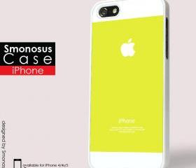 Yellow and white background iphone logo - Iphone case for Iphone 4 case, Iphone 4s case, Iphone 5 case hard case